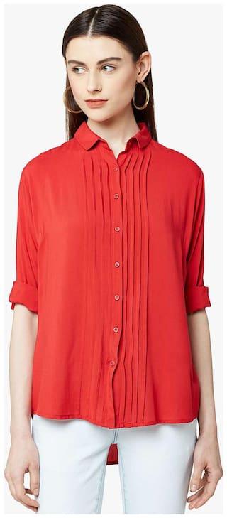 Crimsoune Club Women Regular fit Solid Shirt - Red
