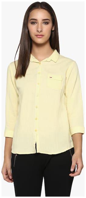 Crimsoune Club Yellow Solid Casual Shirt