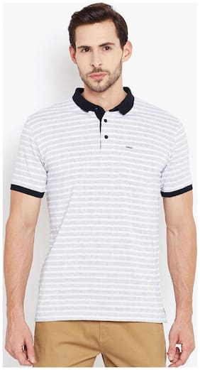 Crimsoune Club Men Regular fit Polo neck Striped T-Shirt - Grey