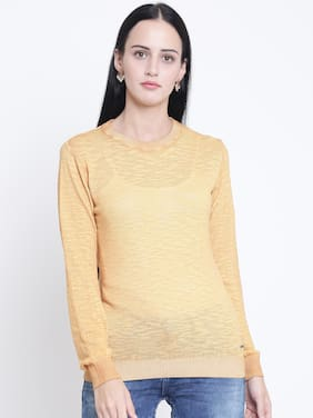 Crimsoune Club yellow Solid Slim fit Ladies Sweater