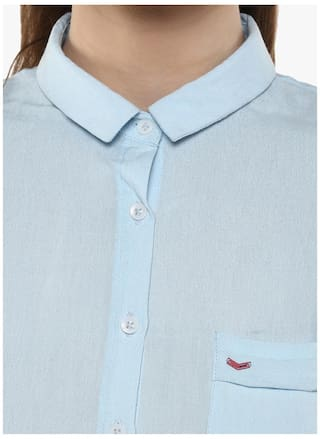 Club Sky Casual Solid Crimsoune Blue Shirt 4qnwdCvA