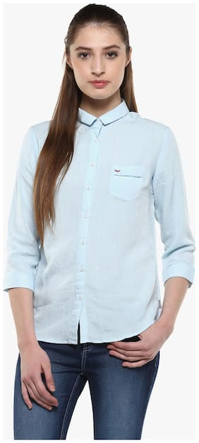 Crimsoune Club Sky Blue Solid Casual Shirt