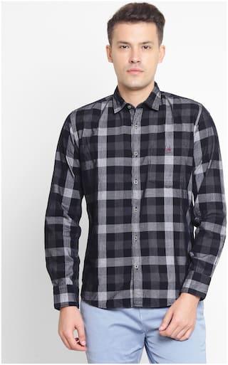 Crimsoune Club Men Black & Grey Checked Slim Fit Casual Shirt