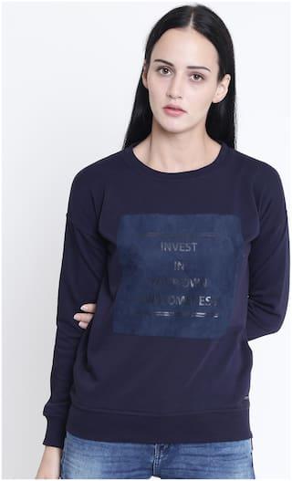 Crimsoune Club Women Printed Sweatshirt - Blue