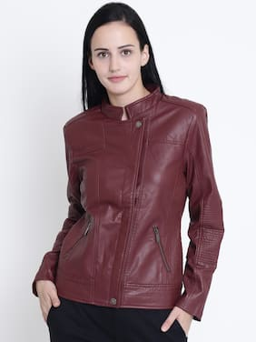 Crimsoune Club Women Solid Regular Jacket Jacket - Maroon
