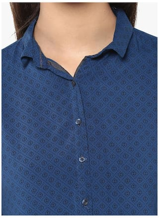 Navy Shirt Printed Blue Casual Crimsoune Club YapFxxZ