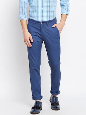 Crimsoune Club Navy Blue Plain Slim Fit Casual Trouser