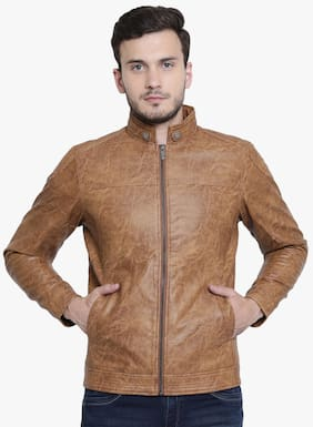 Crimsoune Club Men Pu Slim Fit Jacket - Brown