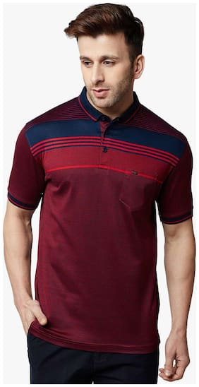 Crimsoune Club Men Regular fit Polo neck Striped T-Shirt - Maroon