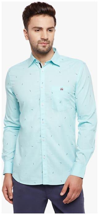 Crimsoune Club Men Blue Abstract Slim Fit Casual Shirt