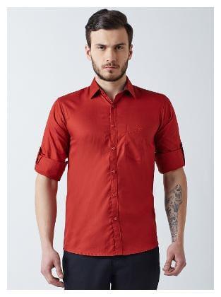 Crimsoune Club Men Red Solid Slim Fit Casual Shirt