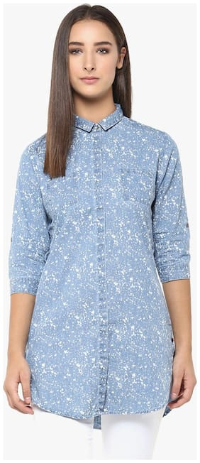 Crimsoune Club Women Cotton Printed - Regular top Blue