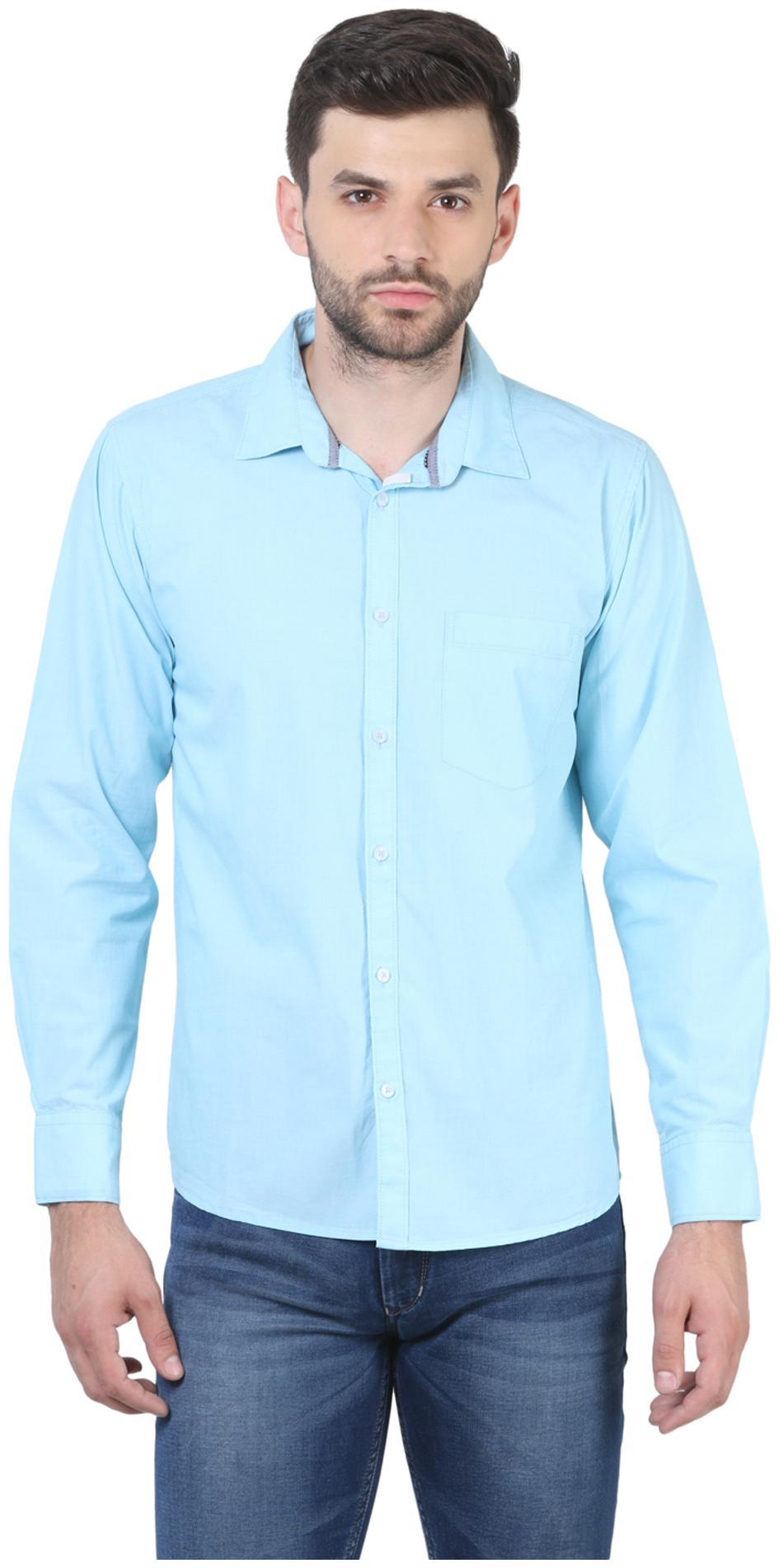 Crimsoune Club Men Blue Solid Slim Fit Casual Shirt