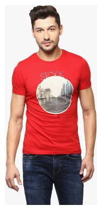 Crimsoune Club Men Slim fit Round neck Printed T-Shirt - Red