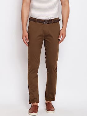 Crimsoune Club Brown Print Slim Fit Casual Trouser