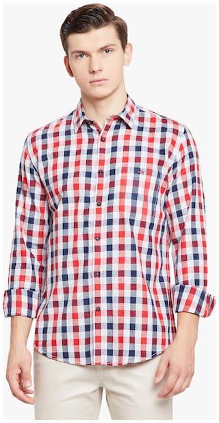 Crimsoune Club Men Red Checked Slim Fit Casual Shirt