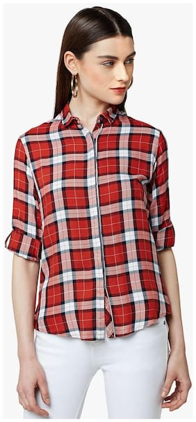 Crimsoune Club Red Check Casual Shirt
