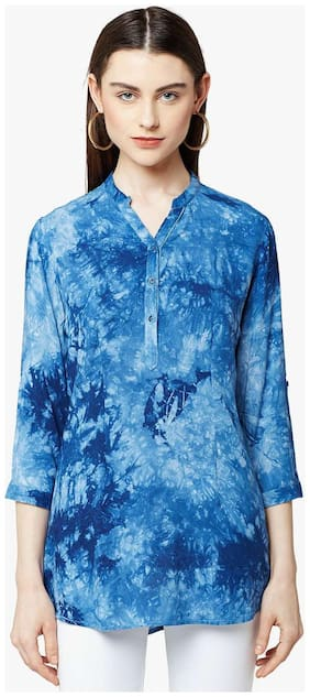 Crimsoune Club Women Blended Solid - A-line Top Blue