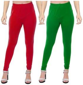 Crospike Cotton & Lycra Leggings - Red & Green