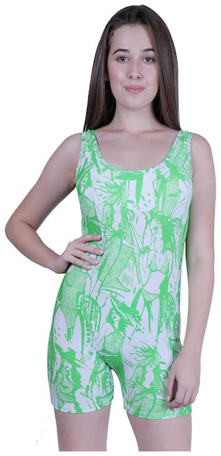 CUKOO Women Nylon Printed Bodysuit - Green