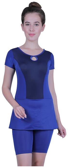 Cukoo Single Piece Nylon Swimwear with Long Shorts for Women Blue