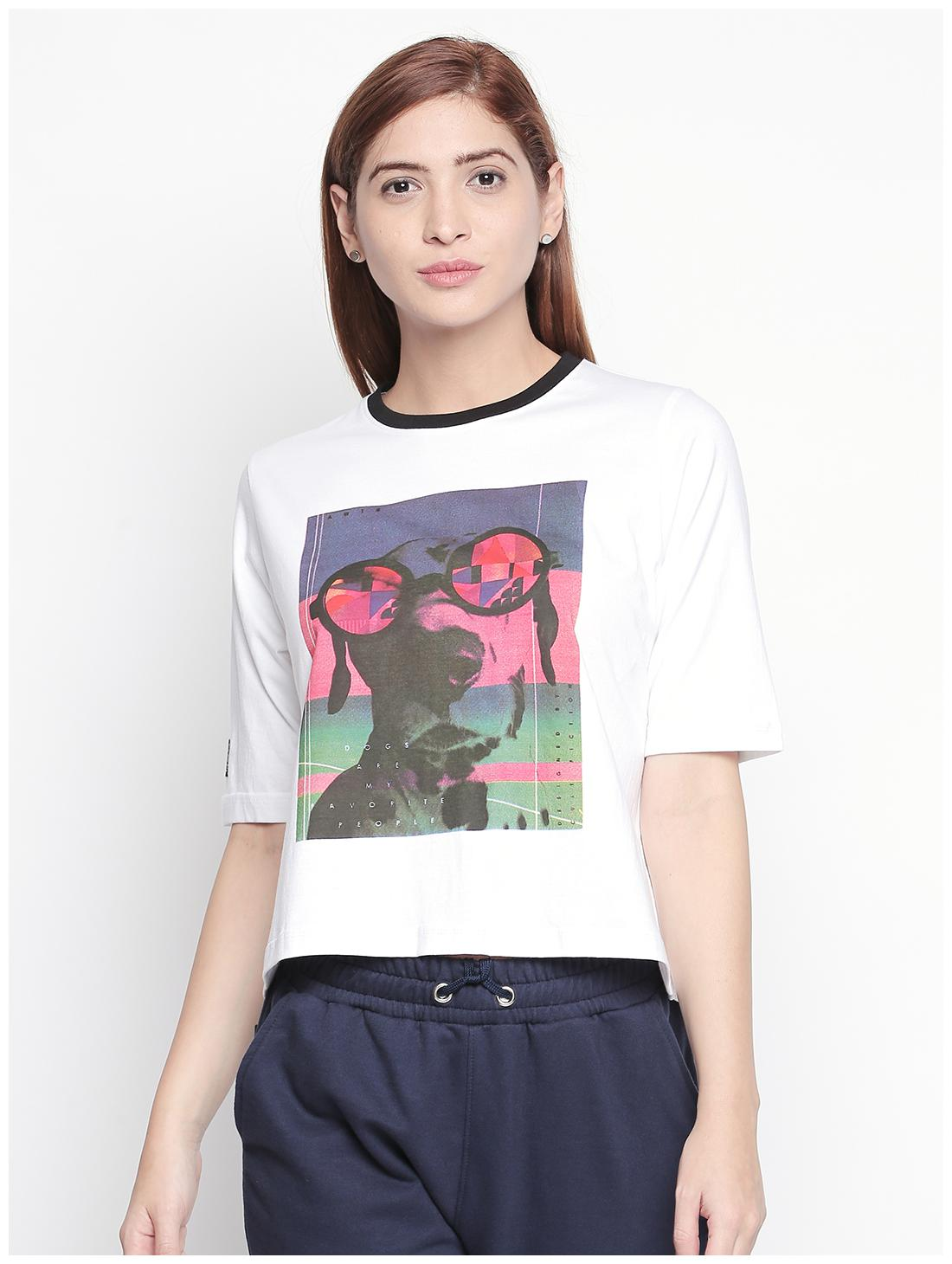 Cult Fiction Women White Regular fit Round neck Cotton T shirt