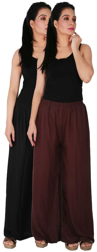 Culture the Dignity Women's Rayon Solid Palazzo Pants Palazzo Trousers Combo of 2 - Black - Brown - C_RPZ_BB2 - Pack of 2 - Free Size