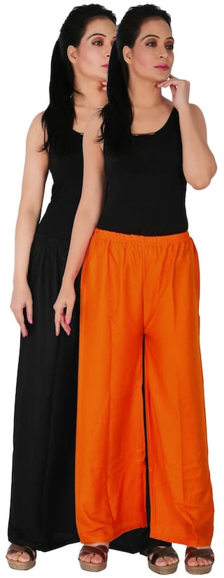 the BO C Pants Palazzo Pack Palazzo of Orange RPZ Size Culture Dignity Trousers Rayon of 2 Women's Black Solid Combo 2 Free dYaC4n6