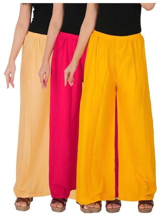 Culture the Dignity Women's Rayon Solid Palazzo Combo of 3 - Cream - Magenta - Yellow - C_RPZ_CM1Y - Pack of 3 - Free Size