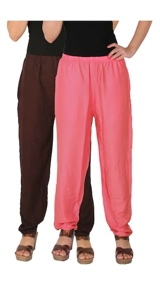 Culture the Dignity Women's Rayon Solid Casual Pants With Side Pockets Combo of 2 - Brown - Baby Pink - C_RPT_B2P2 - Pack of 2 - Free Size