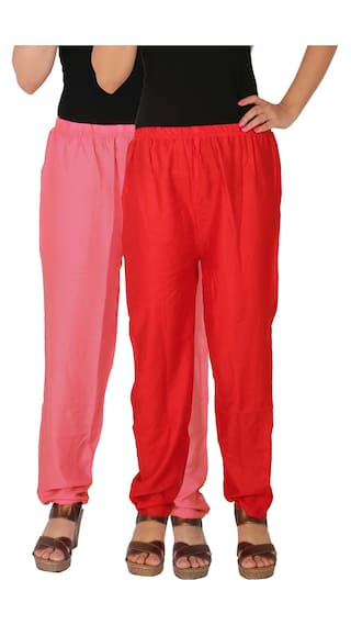 With Pink Size Red 2 the Rayon C P2R Solid Combo 2 Pack Free of Dignity Side Culture Pockets Casual Women's RPT Pants of Baby g6q0nAwZ