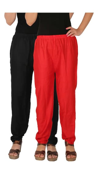 Pants the Pockets Free Red 2 Side Women's With BR Rayon Pack C Black Combo RPT Culture 2 of Size Dignity of Solid Casual YzfYdqw