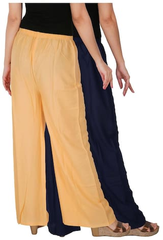 Cream RPZ Palazzo 2 Size B3C Blue of Trousers of Rayon the Free Pants Navy C Culture Combo Pack Solid 2 Dignity Palazzo Women's Pq6wnBxa0