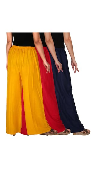 Women's Culture the Rayon C Navy Dignity Free Pack of Solid Combo 3 B3RY RPZ 3 Red Size Blue Palazzo Yellow of rSwESqtxd