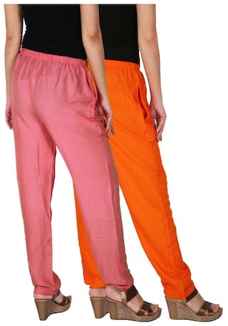 With Dignity OP2 Culture Baby C 2 of Women's Pants Pink the 2 Solid Free Size Side Casual Combo Pack RPT Orange Rayon Pockets of 0554Uwq