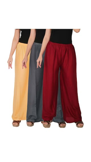 Culture the Dignity Women's Rayon Solid Palazzo Combo of 3 - Cream - Grey - Maroon - C_RPZ_CG1M - Pack of 3 - Free Size