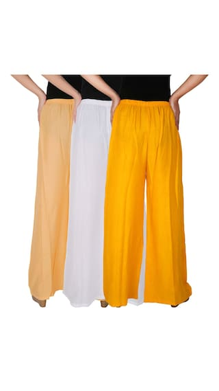 3 Culture the Solid Pack CWY of Rayon C Women's Palazzo RPZ Size Yellow Cream White of Dignity Free Combo 3 S8dIrwqSx