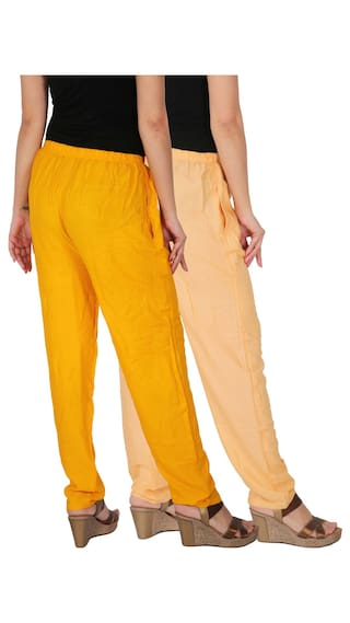 Culture the Dignity Women's Rayon Solid Casual Pants With Side Pockets Combo of 2 - Cream - Yellow - C_RPT_CY - Pack of 2 - Free Size