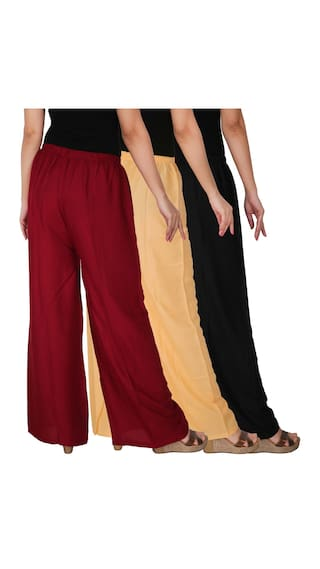 Free 3 Solid RPZ Culture Women's the of Cream Palazzo BCM Black 3 Combo of C Rayon Size Pack Maroon Dignity x88UBOqI