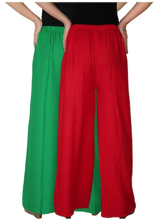 Combo Culture Trousers Dignity the Pants 2 Free C Palazzo of GR Size Solid RPZ Red 2 of Rayon Pack Green Palazzo Women's rpgxzr