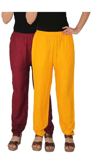 Culture the Dignity Women's Rayon Solid Casual Pants With Side Pockets Combo of 2 - Maroon - Yellow - C_RPT_MY - Pack of 2 - Free Size