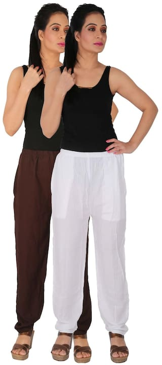 C of Rayon Combo B2W Culture Side Size RPT of Casual Brown Pants Free With Dignity 2 Solid Pack Pockets 2 White Women's the SSxwtZvqH