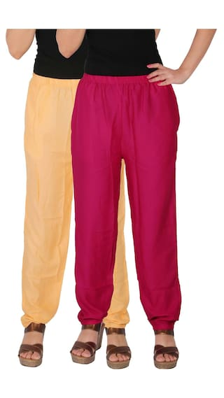 Pockets of Solid C Pants Magenta Casual 2 RPT Side Pack of Combo Women's 2 Rayon CM1 Dignity Culture the With Size Free Cream zq4SP