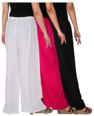 Palazzo Black Dignity RPZ Magenta of C 3 Solid Culture White the 3 Pack of Women's Free Size BM1W Combo Rayon xCwzAXfRq