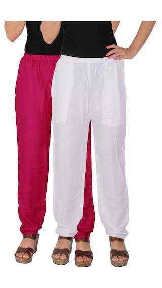 Culture the Dignity Women's Rayon Solid Casual Pants With Side Pockets Combo of 2 - Magenta - White - C_RPT_M1W - Pack of 2 - Free Size