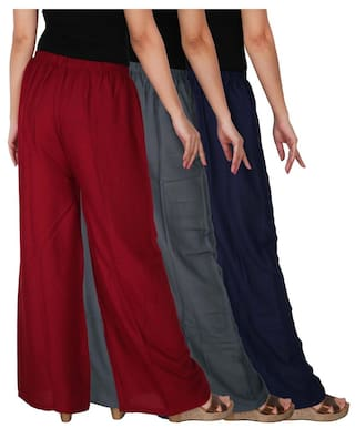 Pack 3 of the Dignity Grey Free 3 Women's Solid Palazzo Combo Maroon Size Rayon of RPZ C B3G1M Navy Culture Blue pawnUq0w