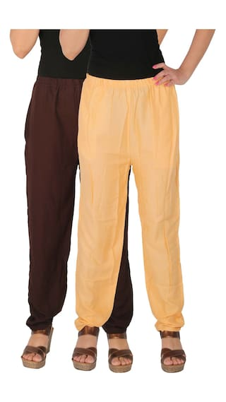 With of Size RPT Brown Pants of Culture B2C Solid Cream 2 the C Dignity Combo Rayon Casual Women's Pack Side 2 Free Pockets wxBBFqfH0