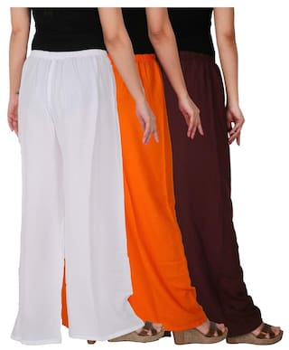 Solid Orange Culture White Brown Dignity Free C RPZ Combo 3 Palazzo of Size of Women's the Rayon B2OW 3 Pack qvIxrv4w