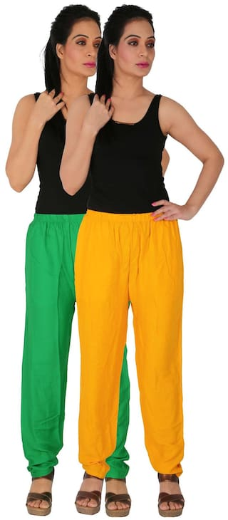 of Green Size Free Pants Side Culture C Dignity Pockets the GY With of Rayon Yellow RPT Combo Women's 2 2 Casual Pack Solid xwOB1wPfq