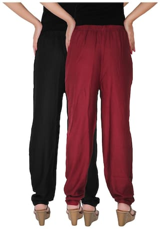 Combo Pants 2 Dignity Side BM Pockets Size Women's Pack of With Maroon Black Rayon Culture Casual 2 the Free of C Solid RPT Ypcgwv7